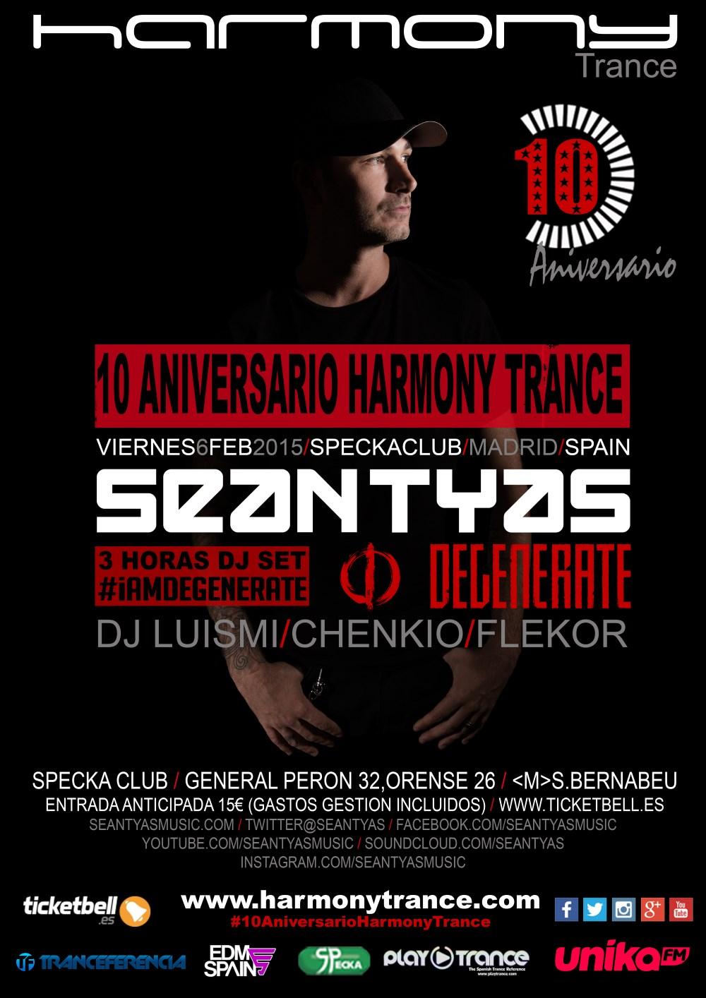 Sean Tyas será el artista invitado en el décimo aniversario de Harmony [Club Specka, Madrid]