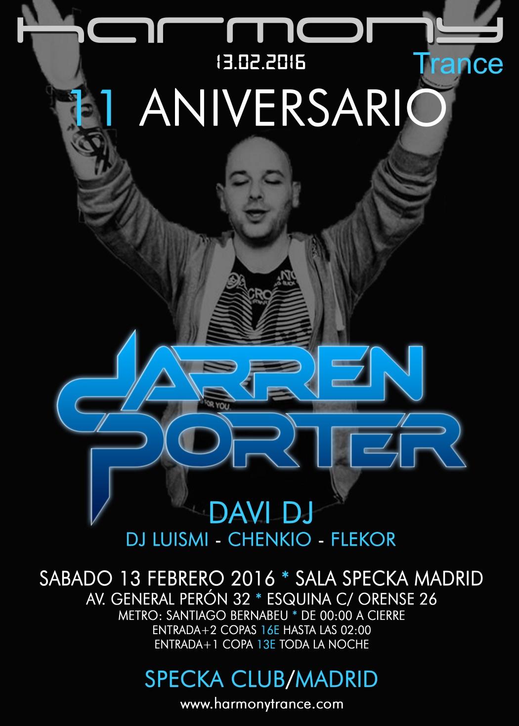 [ACTUALIZADO] Harmony celebra su 11 aniversario con Darren Porter en Madrid