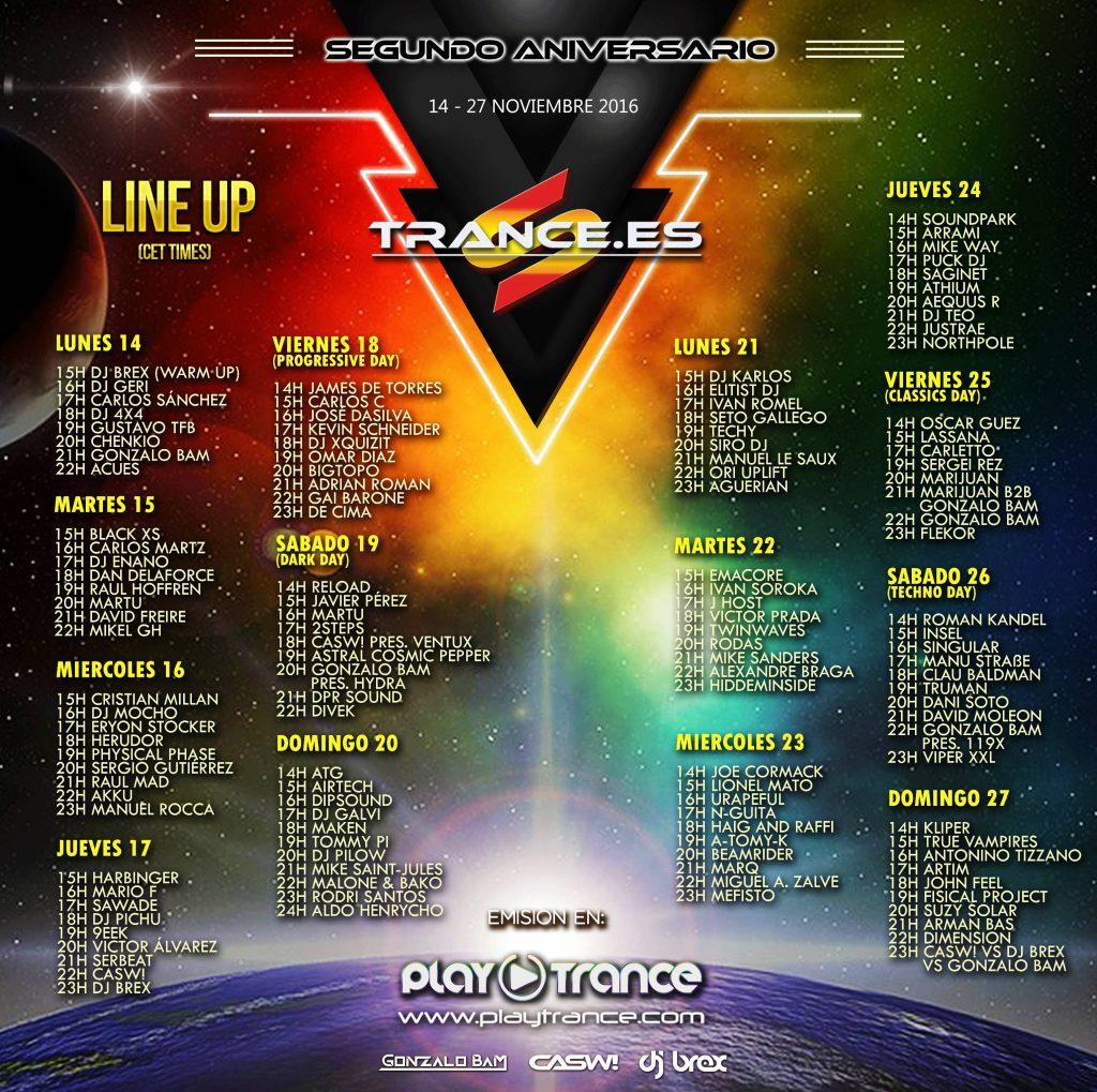 Trance.es segundo aniversario line-up