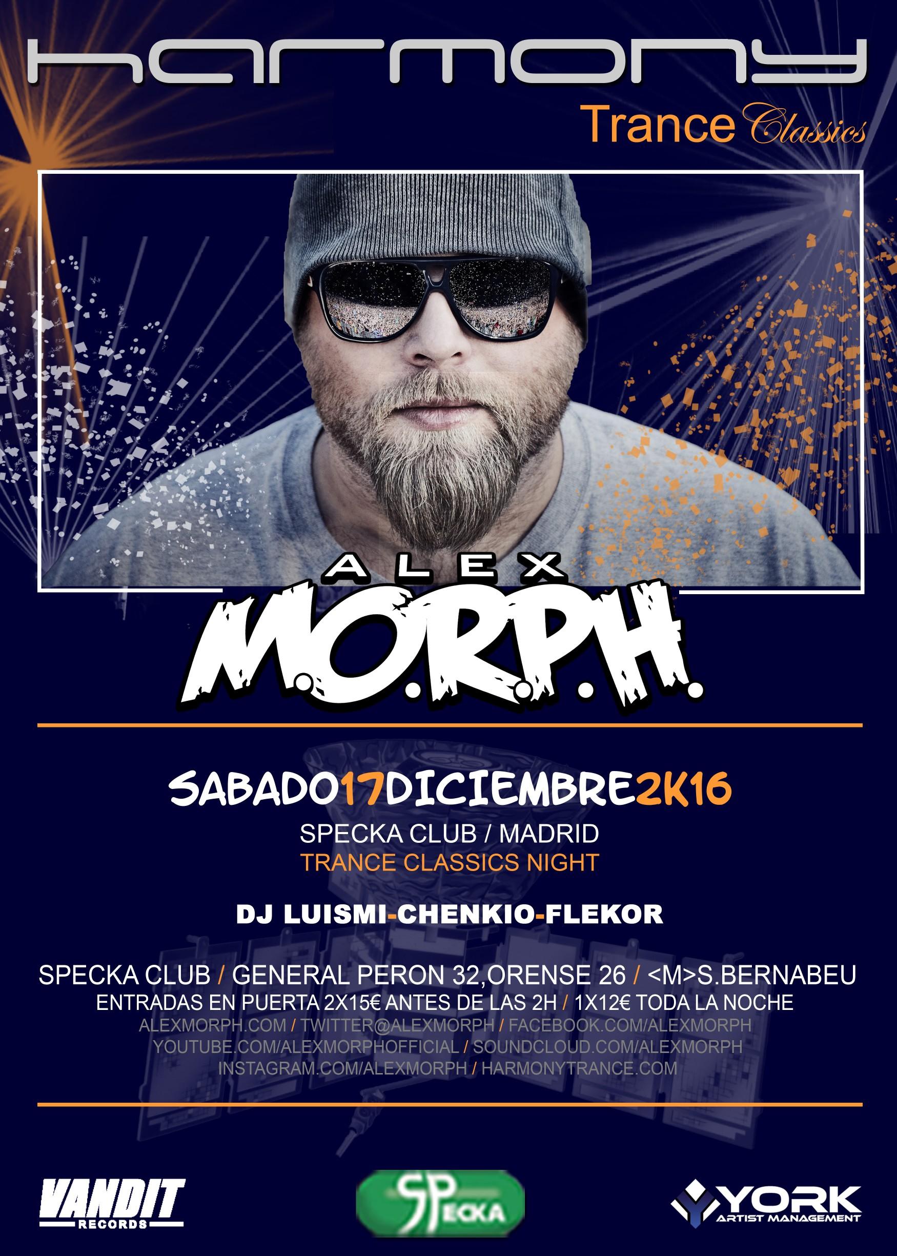 17 de diciembre: Alex M.O.R.P.H. visita Madrid con Harmony Trance