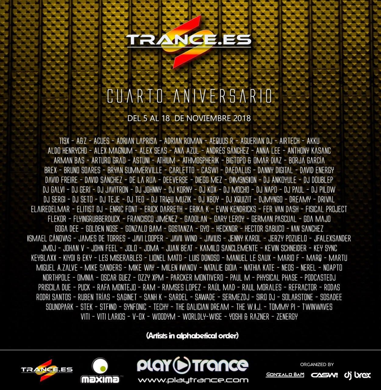 Cuarto Aniversario de Trance.es, del 5 al 18 de noviembre